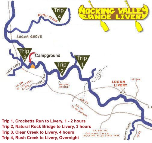 Hocking Valley Canoe Livery Canoeing Map
